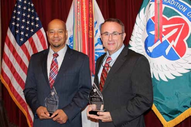 Hilbert Carter and Eddie Adams are the 2018 Ernest A. Young Logistics Achievement Award winners at Redstone Arsenal, Ala.