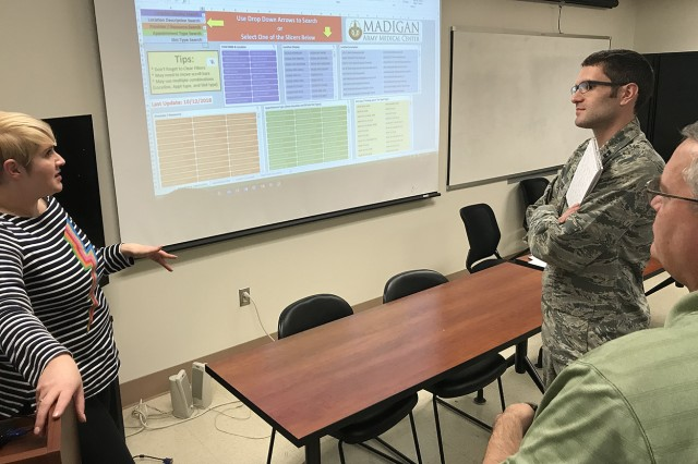 Heather Davis, Clinical Services Division chief, discusses administrative officer functions in MHS GENESIS during Madigan Army Medical Center's stand-down training day on Nov. 9.