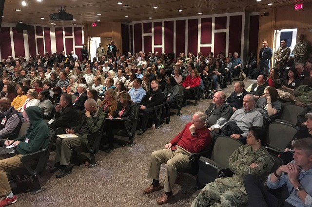 Staff attend a plenary session in Letterman Auditorium at Madigan Army Medical Center's training day for MHS GENESIS on Nov. 9.