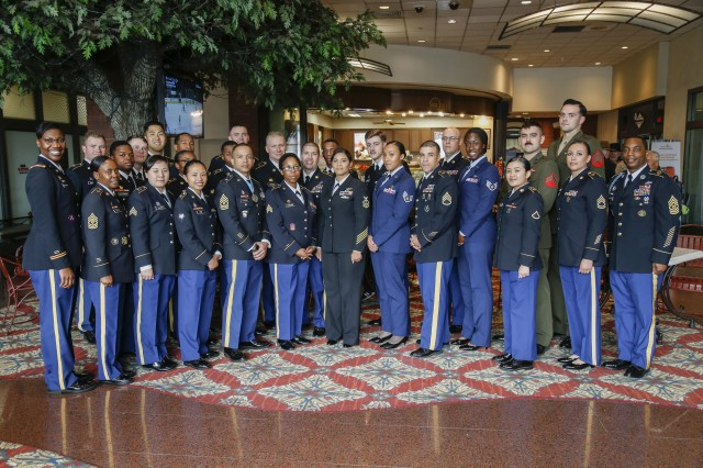 Service members assigned to Yongsan HHC pose for a photo during the 2018 Yongsan-Casey Retiree Appreciation Day at the Dragon Hill Lodge Nov. 17.