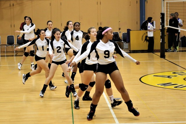 The Zama American Middle High School's varsity volleyball team warms up before a match earlier this year. Zama's squad earned a 2nd place finish in the Far East Division II Volleyball Championship on Nov. 10, 2018, at Camp Humphreys, South Korea.