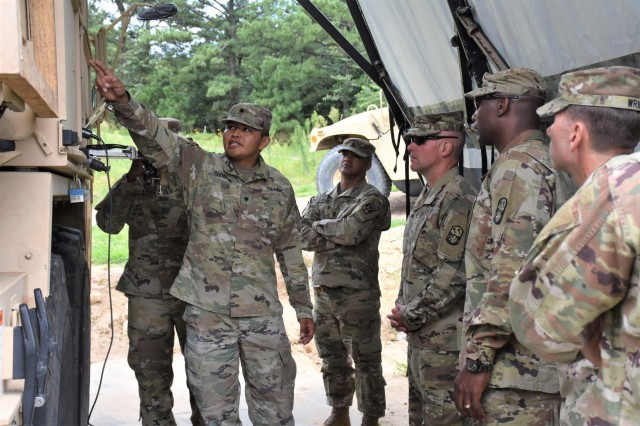 During a past site visit to CTF Defender Soldiers briefed The 94th Army Air and Missile Defense command team, Brig. Gen. Michael Morrissey and Command Sgt. Maj. Eric McCray, on the different functions of the equipment they utilize at the CP Carroll Forward Operating Site.