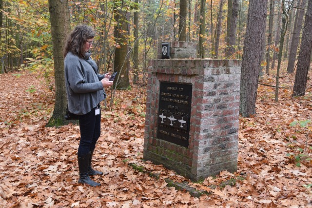 Carol Street, the daughter of World War II veteran Herbert Max Street, visits Zutendaal, Belgium, to retrace her father's footsteps during the war, Oct. 24, 2018. Her father was stationed at then Zutendaal Air Base, which now serves as an U.S. Army Pre-positioned Stocks site, during the famous Operation Bodenplatte, or Legend of Y-29 battle. Street met with local historians to visit the battle's memorial and other sites around the base.