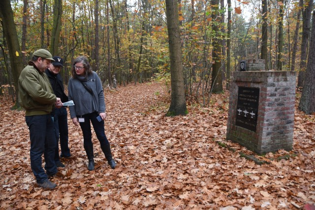 Carol Street (right), the daughter of World War II veteran Herbert Max Street, visits Zutendaal, Belgium, to trace her father's footsteps during the war, Oct. 24, 2018. Her father was stationed at then Zutendaal Air Base, which now serves as an U.S. Army Pre-positioned Stocks site, during the famous Operation Bodenplatte, or Legend of Y-29 battle. Street and husband Brent met with local historians to visit the battle's memorial and other sites around the base.