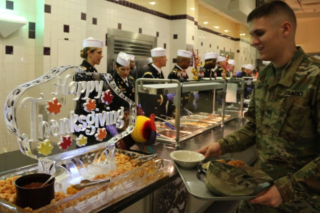 Soldiers and guests were served all the typical Thanksgiving items plus others culinary treats Tuesday at The Old Guard DFAC Thanksgiving dinner.