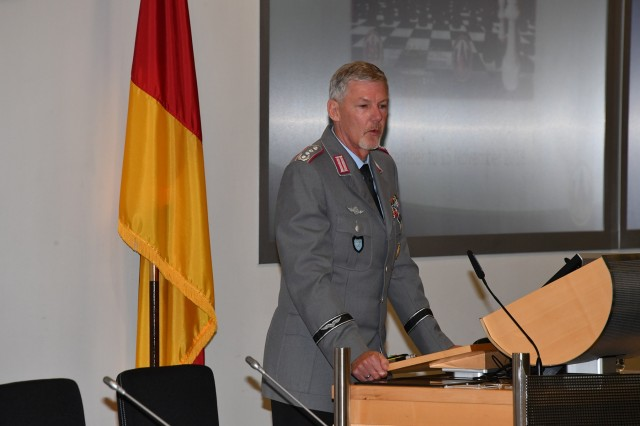 GARMISCH-PARTENKIRCHEN, Germany (Sept. 5, 2018)  -  German Army Col. Carsten Treder, director of the Program on Applied Security Studies, welcomes 98 participants from 42 countries on the first day of PASS 2018 at the George C. Marshall European Center for Security Studies Sept. 5. For more photos, visit the Marshall Center Photo Gallery. (DOD photo by Karl-Heinz Wedhorn/RELEASED)