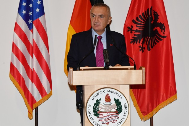 GARMISCH-PARTENKIRCHEN, Germany (Oct. 25, 2018)  -  The President of the Republic of Albania Ilir Meta speaks to 98 participants from 42 countries about security and Euro-Atlantic integration in the Balkans from the Albanian perspective at the George C. Marshall European Center for Security Studies Oct. 25. For more photos, visit the Marshall Center Photo Gallery. (DOD photo by Karl-Heinz Wedhorn/RELEASED)