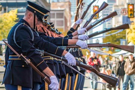 Soldiers assigned to the U.S. Army Drill Team, 4th Battalion, 3rd U.S. Infantry Regiment (The Old Guard), perform after the conclusion of the 4th Annual Philadelphia Veterans Day Parade in Philadelphia, Nov. 4, 2018.