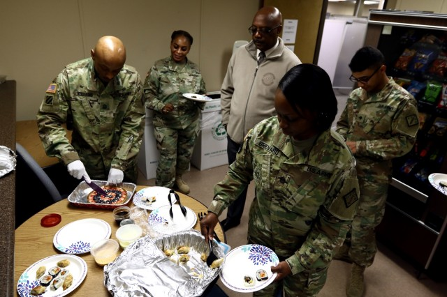 Soldiers and civilians follow the aroma coming from the break room of the 20th Chemical, Biological, Radiological, Nuclear, Explosives (CBRNE) Command Headquarter as soon as Sgt. 1st Class Antoine Williams, a Florence, South Carolina native and communications non-commissioned officer in charge for the 20th CBRNE Command, a few trays of finger food he prepared from scratch in his own kitchen the night before to share with his coworkers. Williams recently graduated from the Advanced Culinary Skills Training Course (ACSTC) and the Enlisted Aide Training Course (EATC) at Fort Lee, Virginia.