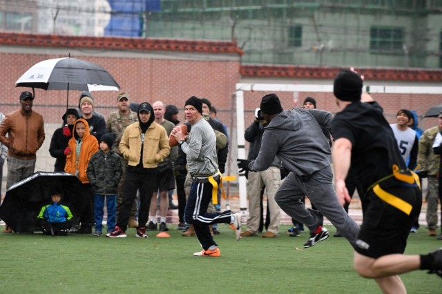 CAMP HUMPHREY, Republic of Korea -- Soldiers assigned to 2nd Infantry Division/ROK-U.S. Combined Division participate in the 2018 Turkey Bowl at Zoekler Football Field Nov. 21 to encourage team building and esprit de corps. The officers versus enlisted Soldiers flag football game was the official start of the Warrior Thanksgiving weekend.