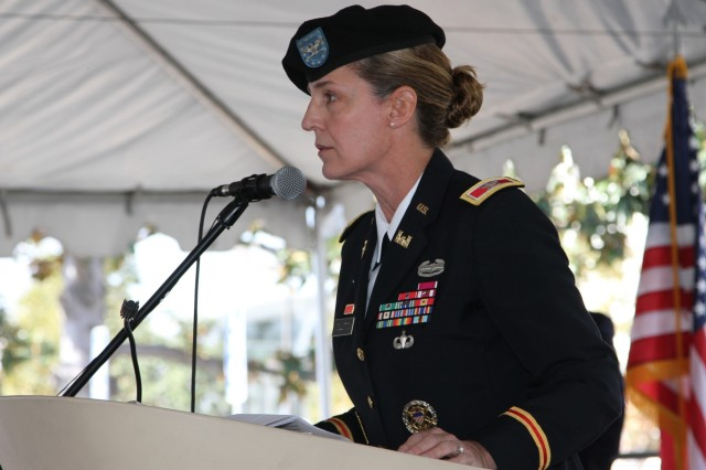 Col. Kimberly Colloton, South Pacific Division commander speaks to audience members attending groundbreaking ceremony for the medical center's new mental health facility and community living center, Nov. 11.Two U.S. Army Corps of Engineers commanders helped break ground on new medical facilities on Veterans Day at the Tibor Rubin Veterans Affairs Medical Center, Long Beach.The $317 million project, calls for the construction of new mental health in-patient and out-patient facilities and a new community living center to replace aged and seismically deficient buildings. All five phases are expected to be completed by fall 2023 and both facilities are designed to be LEED Silver certified.