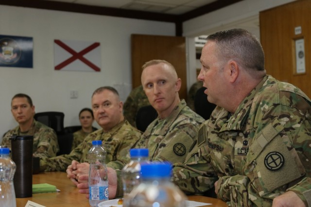 U.S. Army National Guard Lt. Col. Leif Thompson, far right, commander of the 935th Aviation Support Battalion, 35th Combat Aviation Brigade, from Springfield, Missouri, discusses recent 935th ASB operations at the 35th CAB's Administrative and Logistical Operations Center at Camp Buehring, Kuwait, Nov. 22, 2018.  Lengyel and his team shared a Thanksgiving breakfast with U.S. Soldiers assigned to the 35th CAB, which is deployed to the Middle East in support of Operations Inherent Resolve and Spartan Shield.