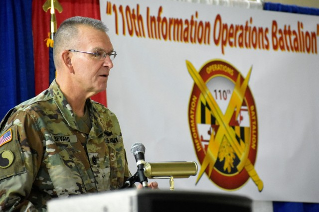 Command Sgt. Maj. Thomas B. Beyard, Md. Guard Senior Enlisted Leader, addresses the audience at the 110th Information and Cyber Operations Symposium Nov 18 at the Annapolis Readiness Center. Beyard speaks with first-hand knowledge of the invaluable capabilities the unit brings to the U.S. Army.