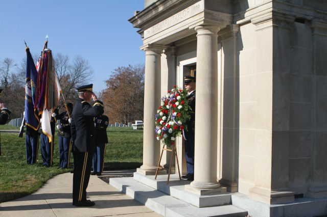 Soldiers from Fort Knox paid tribute to President Zachary Taylor at a wreath laying ceremony at the Zachary Taylor National Cemetery in Louisville, Kentucky, Nov. 21. Brig. Gen. Stephen Rutner, deputy commander of the 84th Training Command, placed a wreath in front of Taylor's gravesite in Louisville and rendered a salute to the former president. Taylor, the nation's 12th president, grew up in Louisville before joining the Army in 1808. He was sworn into office in 1849 and served as president for 16 months before his death in 1850.