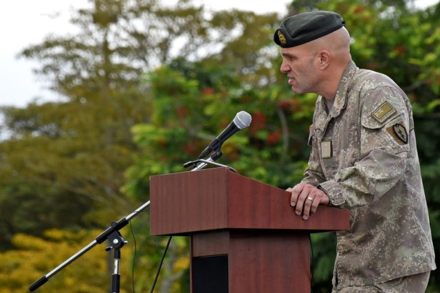 Col. Trevor J. Walker, deputy commander, 25th Infantry Division (New Zealand), provides remarks as the guest speaker for the 2018 Pacific Regional Trials, Nov. 16, at Weyand Field, Schofield Barracks, Hawaii. During the Trials about 100 wounded, ill, and injured Soldiers and Veterans participated in a 10-day series of adaptive sporting events hosted by the Tripler Army Medical Center's Warrior Transition Battalion and Regional Health Command - Pacific.