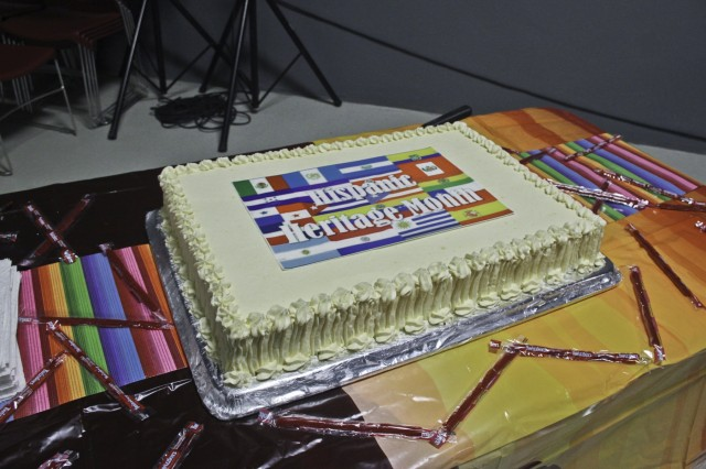 A cake displayed at the National Hispanic Heritage Month celebration at Bagram Airfield Oct. 5, 2018. A cake cutting ceremony, demonstration of various Hispanic dances and a painting display were all part the the celebration. Hispanic Americans have been serving in our military since the Civil war and continue to serve within our ranks with pride.