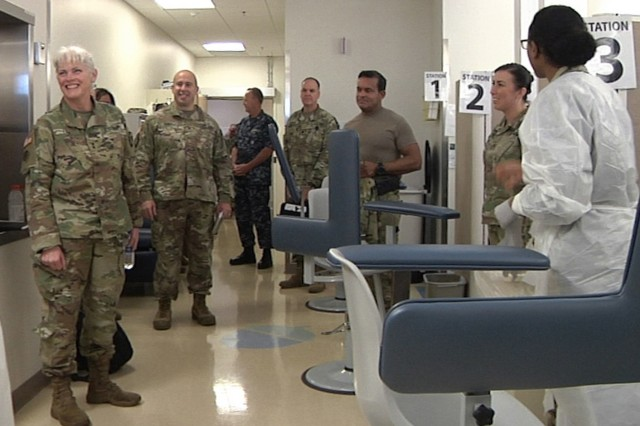 Maj. Gen. Mary Link, Army Reserve Medical Command commanding general, visits her Soldiers supporting Operation Capital Medic at Fort Belvoir Community Hospital on Nov. 3-4, where hundreds of Soldiers in the Washington, D.C. area received periodic health assessments, medically certifying them as deployable or 'green' for their personal medical readiness. ARMEDCOM's 7250th Medical Support Unit, based out of Alexandria, Virginia, in partnership with the Fort Belvoir Community Hospital, provides medical care quarterly to improve medical readiness throughout the Army.  Since the initiative began in August 2017, Operation Capital Medic has helped over 1500 Soldiers go 'green' by providing Periodic Health Assessments and routine medical care through scheduled appointments and walk-ins.