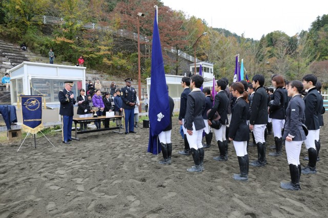 Col. Marvin Emerson, U.S. Army Medical Activity - Japan commander, gives opening remarks prior to the 70th annual BG Sams Equestrian Cup on Nov. 18, 2018, at Tsukui Equestrian Park.