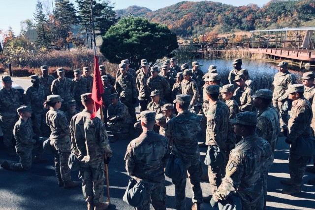 Capt. Kate A. Theilacker, D-2 Battery commander, provides the Defenders the mission brief prior to executing their Terminal High Altitude Area Defense gunnery certification. (Courtesy photo)