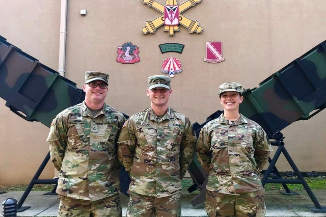 The author, 2nd Lt. Kelsey Burns, and her team earned the title of 2018 Missile Defenders of the Year (Terminal High Altitude Area Defense crew). From left, Pfc. Patrick Griffin, Pfc. Jacob Kuchar, 2nd Lt. Kelsey Burns (U.S. Army photo by Capt. Marion Jo Nederhoed, 35th Air Defense Artillery Brigade)