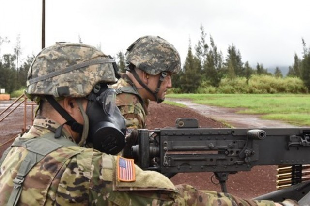 Gunner, Staff Sgt. Gerald Orosco, 322nd Civil Affairs Brigade, engages targets with his protective mask while assistant gunner, Staff Sgt. Collin Miyamoto, 322nd Civil Affairs Brigade, provides assistance at Schofield Barracks, Hawaii, during Operation Pacific Steel on Nov. 10, 2018.