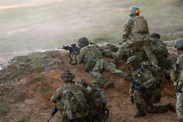 Soldiers from 1-151 Infantry Battalion complete their live fire training exercise at  Joint Readiness Training Center in Fort Polk, La. This training requires Soldiers to be able to move and maneuver as a team using live fire rounds. The JRTC has an incredibly life like simulation area of operation for troops to get the best training possible.