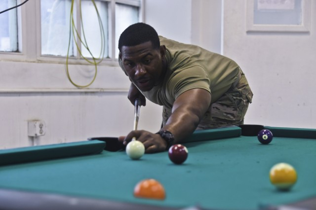 U.S. Army Soldiers assigned to Task Force Destiny participate in an organizational day Oct. 30, 2018. The organizational day gave the Soldiers the opportunity to participate in various activities such as, basketball, corn hole, pool (cue sports), foosball and food straight from the grill.