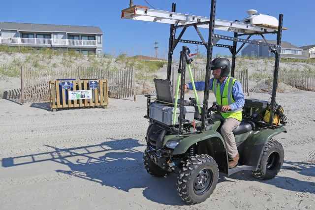 Matthew Boles, U.S. Army Corps of Engineers, Charleston District, engineering technician, operates a Rapid Assessment Mobile Light Detection and Ranging Vehicle while surveying North Myrtle Beach coastal areas to measure changes to the shoreline topography following Hurricane Florence. The data collected will be compared to pre-storm surveys to determine if there was any coastal erosion due to the hurricane.
