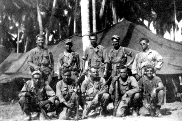 Alamo Scout Teams NELLIST and ROUNSAVILLE taken after the Cabanatuan Rescue in January 1945.