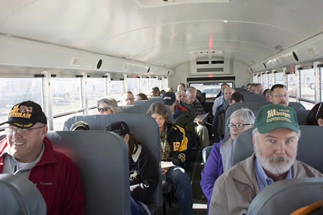 181106A-BB276-001 The bus at Dugway Proving Ground was full during the Native American Indian Heritage Month Observance field trip and archaeological site visit Nov. 6, 2018. Dugway archaeologists took Soldiers and civilians on a short, walking tour of multiple sites up to 2,000 years old to appreciate the history of Indians in the area. Photo by Al Vogel, Dugway Proving Ground Public Affairs