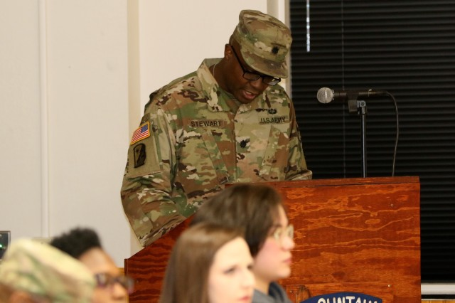 Lt. Col. Ronald H. Stewart Jr., 10th Headquarters Special Troops Battalion commander, addresses the audience during the 510th Human Resources Company redeployment ceremony on Fort Drum, New York Nov. 28, 2018. The 510th completed a nine-month rotation to Afghanistan where they conducted postal support for U.S. and NATO forces. (U.S. Army photo by Sgt. 1st Class Corey VanDiver)
