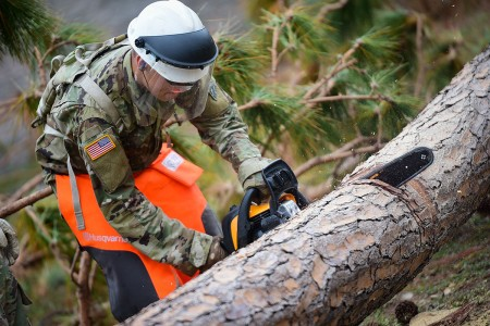 Members of the 46th Engineer Battalion aided fellow service members in the recovery of Tyndall Air Force Base, Fla., following Hurricane Michael, Nov. 1, 2018.