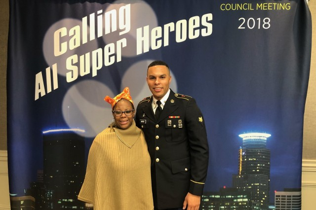Minnesota-Stem cell donor, Army Spc. Akeem Martin (right) meets recipient, LaShonda Goines (left) for the first time since Gaines went from a double cancer diagnosis to being cancer free in seven months after receiving a stem-cell transplant. Martin is a chaplain's assistant with the Texas National Guard, and LaShonda is a nurse. Both are from Houston, Texas.