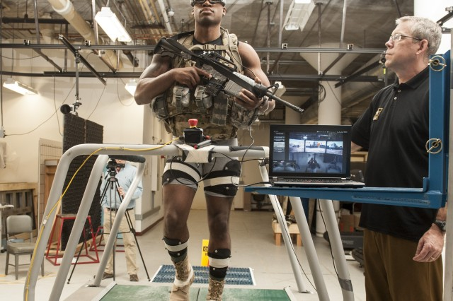 A Soldier participates in a research study at Natick Soldier Systems Center (NSSC).
