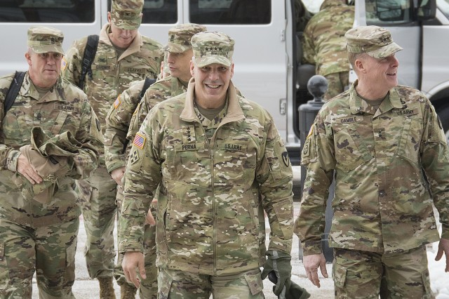 Gen. Gustave F. Perna, commanding general, U.S. Army Materiel Command, arrives at U.S. Army Sustainment Command headquarters, Rock Island Arsenal, Illinois, for his quarterly update meeting, Nov. 29.