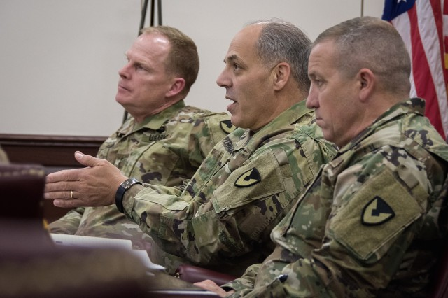 Gen. Gustave F. Perna, commanding general, U.S. Army Materiel Command, emphasizes the need to focus on appropriate outputs - not just on programs - during his quarterly update meeting at the U.S. Army Sustainment Command, Rock Island Arsenal, Illinois, Nov. 29.
