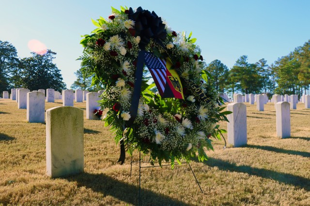 U.S. Special Operation Soldiers and German military liaisons assigned to units at Fort Bragg, North Carolina, remember eight foreign soldiers with a graveside wreath laying ceremony.