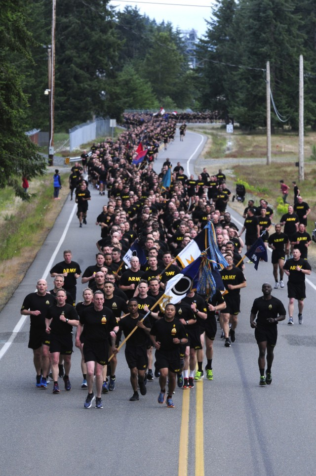 JBLM Soldiers Gather for Run and Fun in celebration of the 243rd Army Birthday