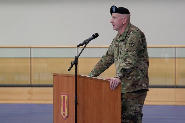 "U.S. Army Col. Seth Knazovich, commander of the 41st Field Artillery Brigade, speaks during the unit activation ceremony in Grafenwoehr, Germany, Nov. 30, 2018. The 41st Field Artillery Bde. ""Railgunners"" is the new unit activating in Grafenwoehr, Germany under the training readiness authority of 7th Army Training Command and will provide long-range precision fires capabilities for U.S. Army Europe. (U.S. Army photo by U.S. Spc. Emily Houdershieldt)"