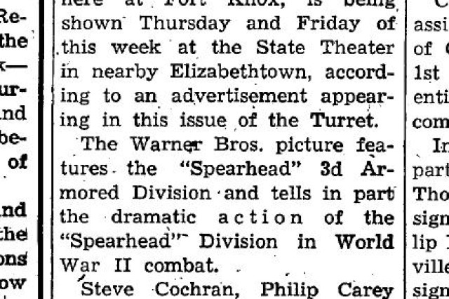 """A showing of the 1951 production of the second """"The Tanks Are Coming"""" is announced in Elizabethtown theaters in 1952."""