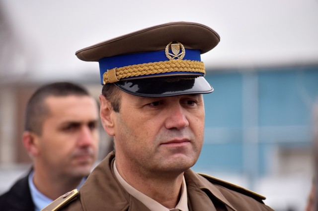 Lt. Gen. Senad Masovic, chief of joint staff of the Bosnia and Herzegovina armed forces attends the 13th Bosnia and Herzegovina armed forces celebration in Sarajevo, Thursday, Nov. 30, 2018. The celebration reflects the 2005 unification of the Bosniak-Croat Army of the Federation of Bosnia and Herzegovina and the Bosnian Serbs' Army of Republika Srpska into one entity - the Bosnia and Herzegovina armed forces.  The unification symbolizes what many say is significant reform in Bosnia and Herzegovina as it continues moving forward with a collective military force.