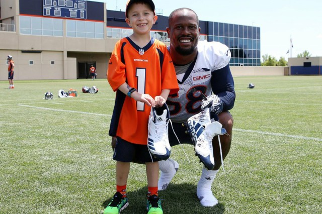 Bryce Caldwell, left, takes a photograph with Denver Broncos linebacker Von Miller during his wish trip to the Broncos headquarters in 2017. Bryce, the son of Maj. Jeremy Caldwell, died later that year from a brain tumor called diffuse intrinsic pontine glioma, or DIPG. The Caldwell family raised more than $42,000 for the non-profit foundation in memory of Bryce. The amount is enough to grant five wishes from children with life-threatening illnesses.
