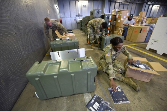 Soldiers from the U.S. Army Medical Research and Materiel Command complete an inventory of medical equipment and supplies being stocked at Army Prepositioned Stock 2 (APS-2) Nov. 20, in support of European theater readiness. APS-2 includes more than 280 medical sets to support a wide range of operational medicine capabilities, from forward resuscitative surgical teams to field hospitals.