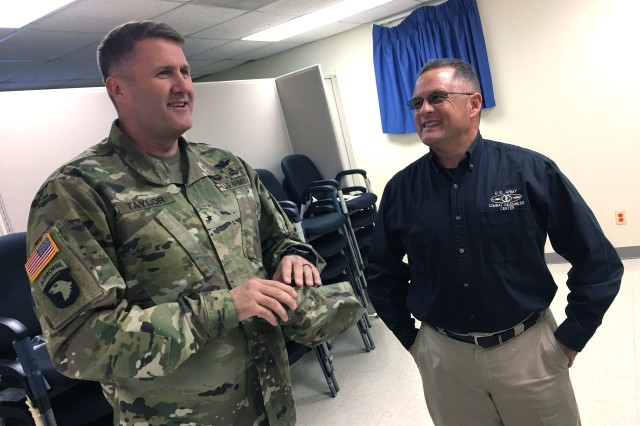 "U.S. Army Operational Test Command Commander Brig. Gen. William D. ""Hank"" Taylor, speaks with Mr. Benjamin S. Valentine, Chief of the U.S. Army Combat Readiness Center's Ground Safety Training Division, at the start of the Additional Duty Safety Officer Course for operational testers."