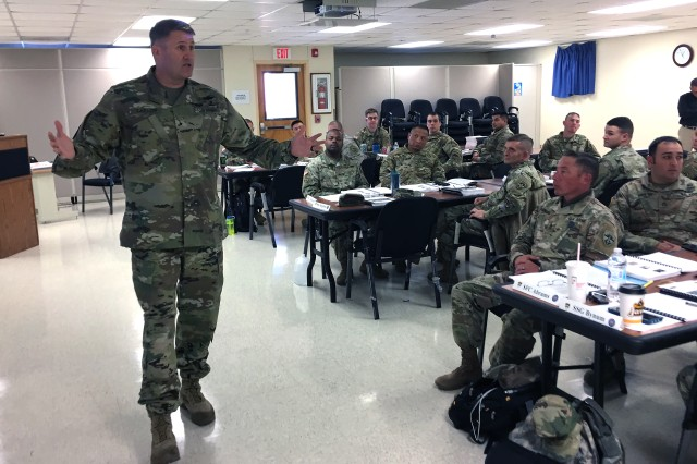 "U.S. Army Operational Test Command Commander Brig. Gen. William D. ""Hank"" Taylor speaks to Additional Duty Safety Officer Course students about safety functions during on and off duty."