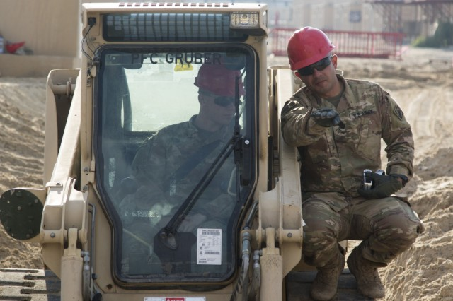U.S. Army Sgt. Alejandro Jimenez, right, a squad leader with the 526th Engineer Construction Company, 92nd Engineer Battalion, 28th Engineer Brigade, directs U.S. Army Pvt. Sean Ginn, an operator with the 526th ECC, as he smooths out the bottom of a trapezoidal ditch with a skid-steer at Camp Arifjan, Kuwait, Nov. 28, 2018. Kuwait has experienced unusually high amounts of rainfall in the past month, and the improvements made to this drainage ditch will help maintain living and operational conditions.