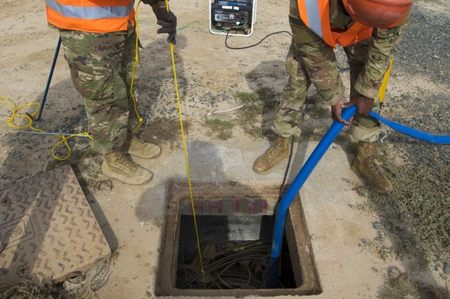 U.S. Army Soldiers from U.S. Army Network Enterprise Center-Kuwait, lower a pump into a flooded access service point at Camp Buehring, Kuwait, Dec. 1, 2018. Kuwait has experienced unusually heavy rainfall and flooding this past month, and U.S. Army Soldiers have risen to the challenge to remain operational despite the weather challenges.