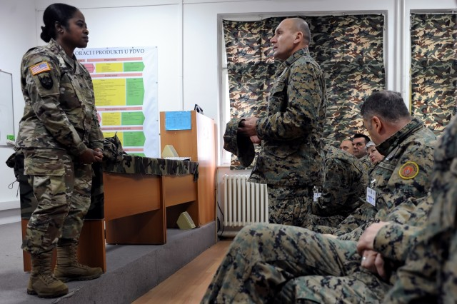 U.S. Army Brig. Gen. Janeen Birckhead, the Maryland National Guard's assistant adjutant general for Army, listens to a question from a student at the Bosnia and Herzegovina armed forces' Travnik Training Center in Travnik, Bosnia, Thursday, Nov. 29, 2018. Birckhead, along with U.S. Air Force Brig. Gen. April Vogel, the Maryland Guard's assistant adjutant general for Air, met with key staff at the center and also spoke on the how the roles of the commissioned and noncommissioned officer together form the command team, as well as ways to strengthen that tie, and also met with key staff at the center. The Maryland Guard and the Bosnian armed forces are celebrating 15 years of partnership as part of the U.S. Department of Defense's State Partnership Program, which pairs up National Guard elements with partner nations worldwide. Begun in 1993, the program now includes 75 partnerships with 81 countries.