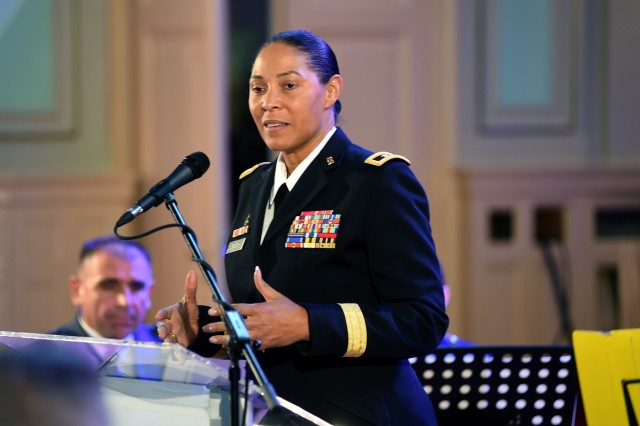 Army Maj. Gen. Linda Singh, the adjutant general of the Maryland National Guard, speaks on the relationship between the Maryland Guard and the Bosnia-Herzegovina armed forces during an event in Sarajevo, Bosnia, commemorating 15 years as partners in the Department of Defense's State Partnership Program, Tuesday, Nov. 27, 2018. Founded in 1993, the SPP partners National Guard elements with partner nations worldwide and now includes 75 partnerships with 81 nations.