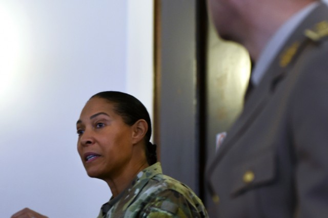 U.S. Army Maj. Gen. Linda Singh, left, the adjutant general of the Maryland National Guard, addresses the joint staff of the Bosnia and Herzegovina armed forces as Bosnia and Herzegovina army Lt. Gen. Senad Ma�ovi�, chief of the joint staff of the armed forces of Bosnia and Herzegovina, looks on during a meeting in Sarajevo, Bosnia, Wednesday, Nov. 28, 2018. The Maryland Guard and the Bosnian armed forces are celebrating 15 years of partnership as part of the U.S. Department of Defense's State Partnership Program, which pairs up National Guard elements with partner nations worldwide. Begun in 1993, the program now includes 75 partnerships with 81 countries.